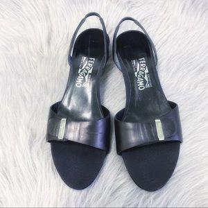 Salvatore Ferragamo Black Slingback Kitten Heels